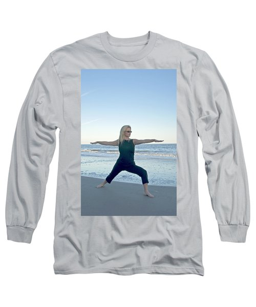 Yoga Woman On The Beach Long Sleeve T-Shirt