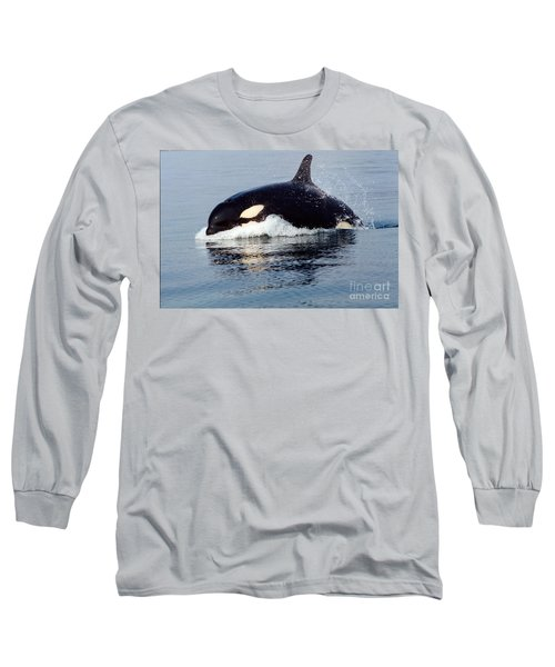 Long Sleeve T-Shirt featuring the photograph Young Orca Off The San Juan Islands Washington 1986 by California Views Mr Pat Hathaway Archives