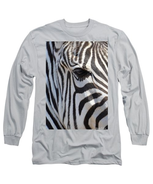 Zebra Eye Abstract Long Sleeve T-Shirt by Maria Urso