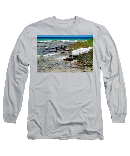 Long Sleeve T-Shirt featuring the photograph Quiet Waves Along The Shore by Janice Adomeit