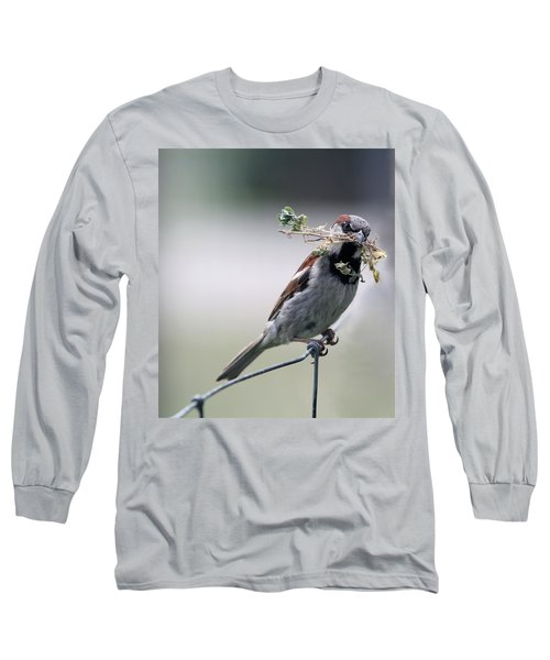 Long Sleeve T-Shirt featuring the photograph A Bird And A Twig by Elizabeth Winter