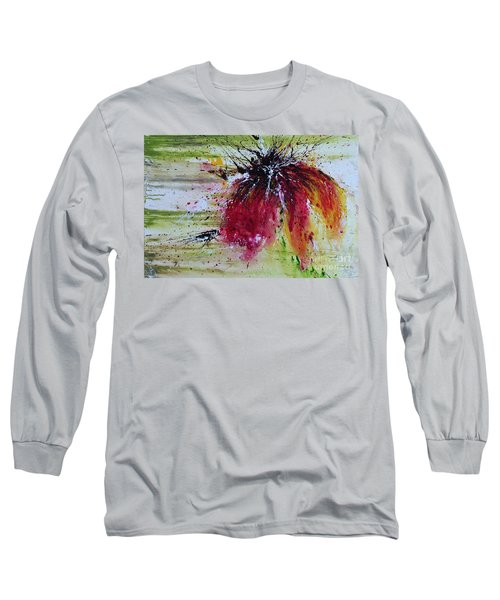 Long Sleeve T-Shirt featuring the painting Abstract  Flower by Ismeta Gruenwald
