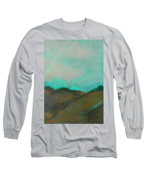Abstract Landscape - Turquoise Sky Long Sleeve T-Shirt by Kathleen Grace