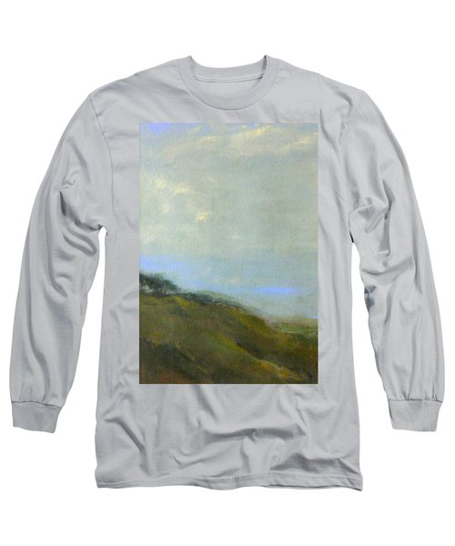 Abstract Landscape - Green Hillside Long Sleeve T-Shirt by Kathleen Grace