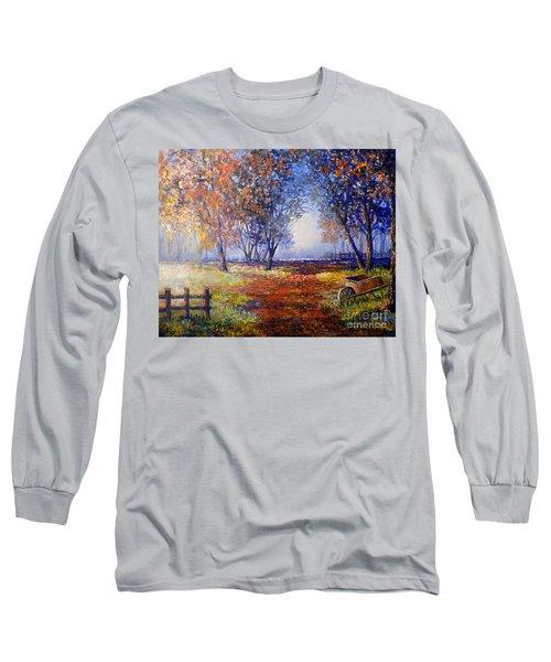 Long Sleeve T-Shirt featuring the painting Autumn Wheelbarrow by Lou Ann Bagnall