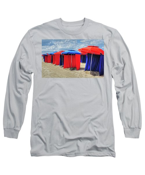Long Sleeve T-Shirt featuring the photograph Beach Umbrellas Nice France by Dave Mills