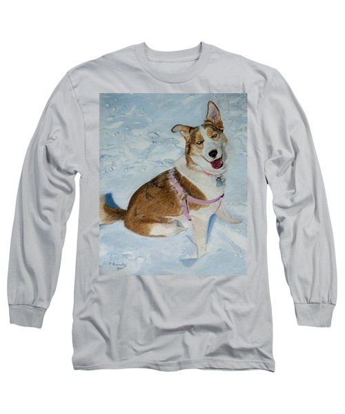 Blue - Siberian Husky Dog Painting Long Sleeve T-Shirt