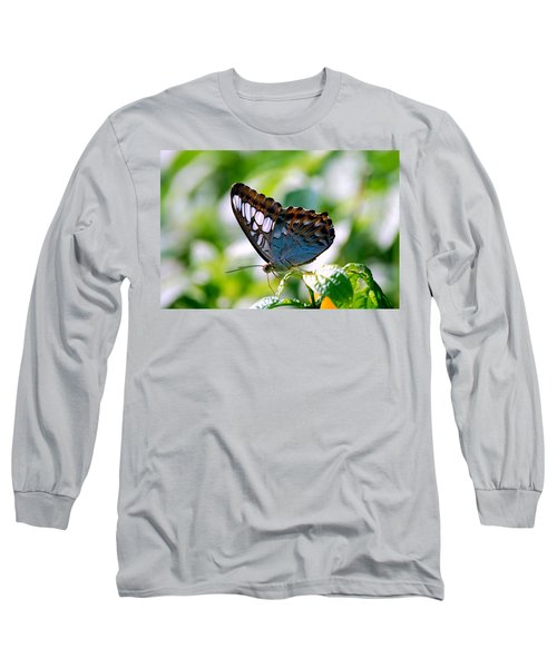 Long Sleeve T-Shirt featuring the photograph Bright Blue Butterfly by Peggy Franz