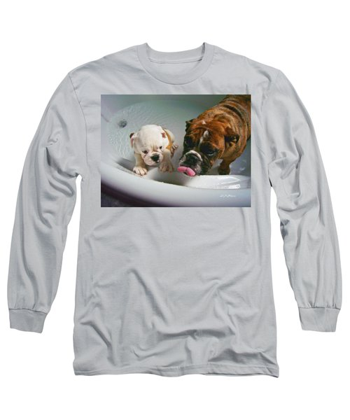Long Sleeve T-Shirt featuring the photograph Bulldog Bath Time II by Jeanette C Landstrom