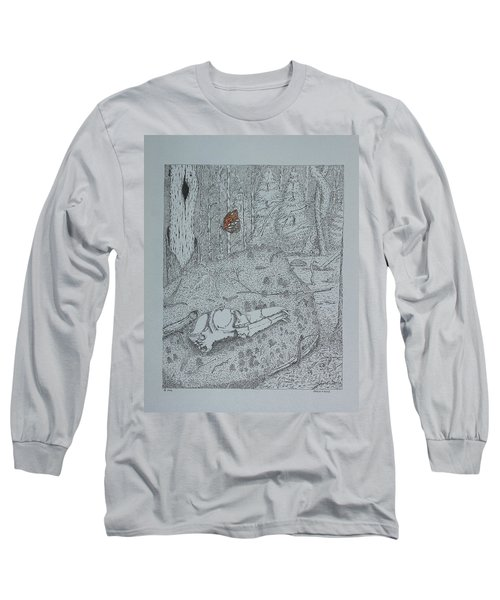Canine Skull And Butterfly Long Sleeve T-Shirt by Daniel Reed