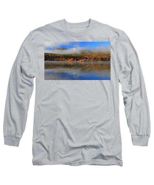 Church Across The Lake-panoramic Long Sleeve T-Shirt