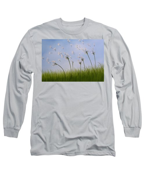 Long Sleeve T-Shirt featuring the painting Contemporary Landscape Art Make A Wish By Amy Giacomelli by Amy Giacomelli