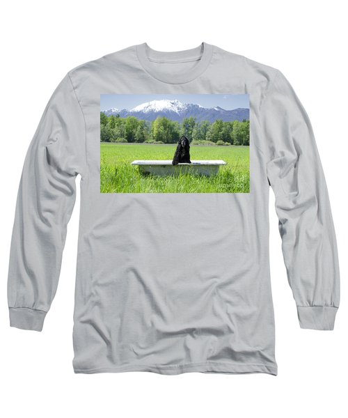 Dog In Bathtub Long Sleeve T-Shirt