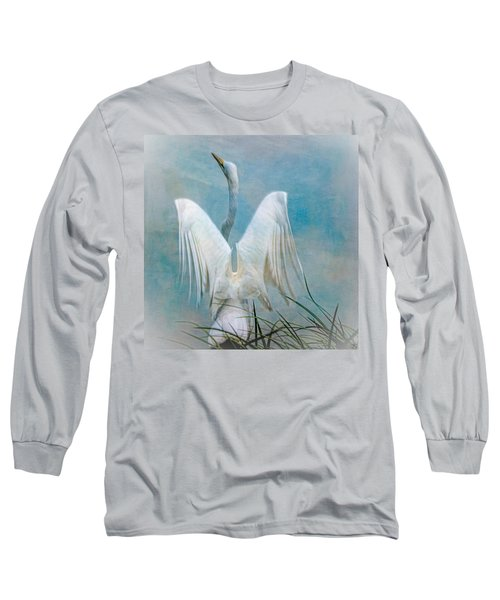 Egret Preparing To Launch Long Sleeve T-Shirt by Chris Lord