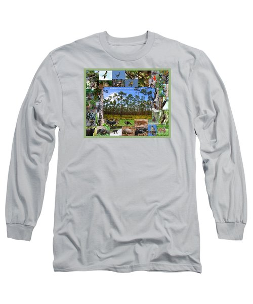 Florida Wildlife Photo Collage Long Sleeve T-Shirt by Barbara Bowen