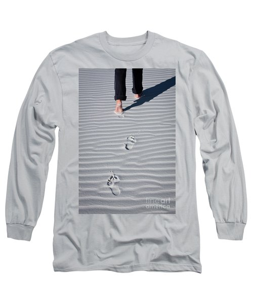 Footprint On White Sand Long Sleeve T-Shirt