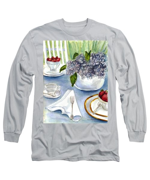 Long Sleeve T-Shirt featuring the painting Garden Tea Party by Clara Sue Beym