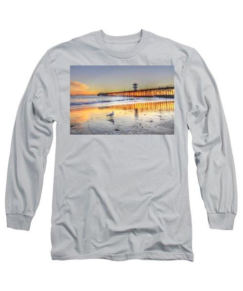 Golden Sunset With Bird Long Sleeve T-Shirt