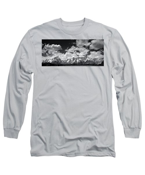 Grand Tetons Panorama In Monochrome Long Sleeve T-Shirt