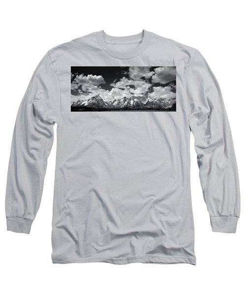 Grand Tetons Panorama In Monochrome Long Sleeve T-Shirt by Ellen Heaverlo