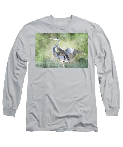 Great Blue Heron Long Sleeve T-Shirt by Francesa Miller