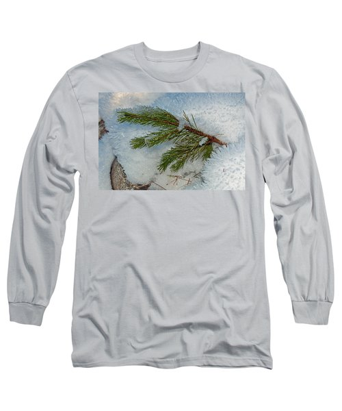 Long Sleeve T-Shirt featuring the photograph Ice Crystals And Pine Needles by Tikvah's Hope
