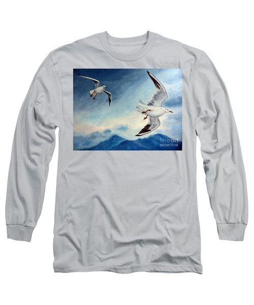 Long Sleeve T-Shirt featuring the painting In Flight by Julie Brugh Riffey