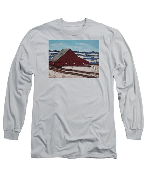 Long Sleeve T-Shirt featuring the painting Keystone Farm by Jeffrey Koss