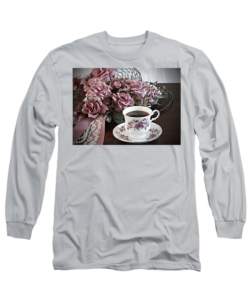 Long Sleeve T-Shirt featuring the painting Ladies Tea Time by Sherry Hallemeier