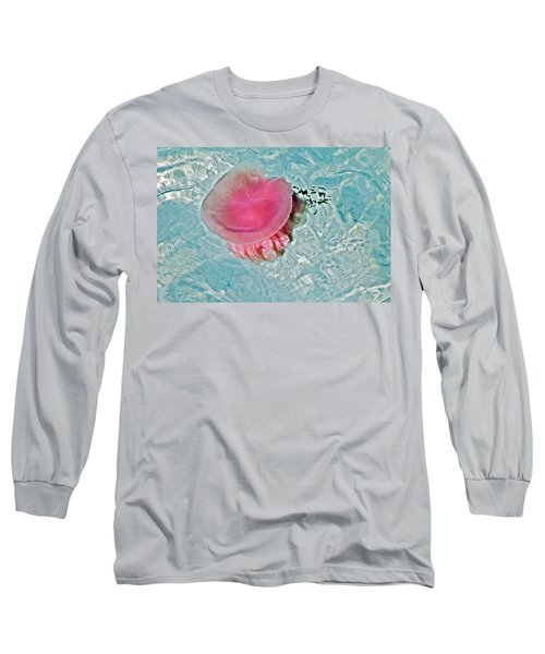 Long Sleeve T-Shirt featuring the photograph Large Colorful Jelly Fish by Susan Leggett