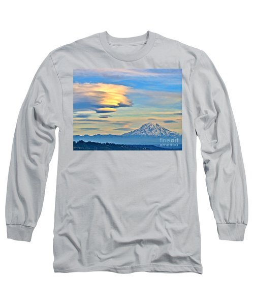 Long Sleeve T-Shirt featuring the photograph Lenticular Cloud And Mount Rainier by Sean Griffin