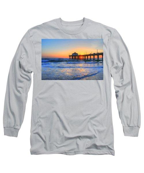 Manhattan Pier Sunset Long Sleeve T-Shirt
