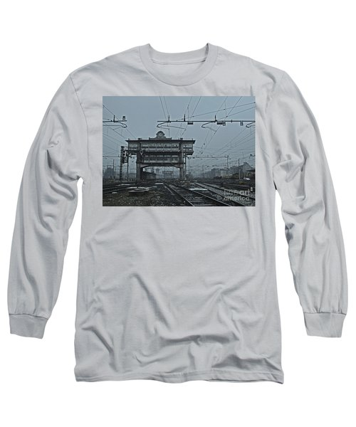 Long Sleeve T-Shirt featuring the photograph Milan Central Station Italy In The Fog by Andy Prendy