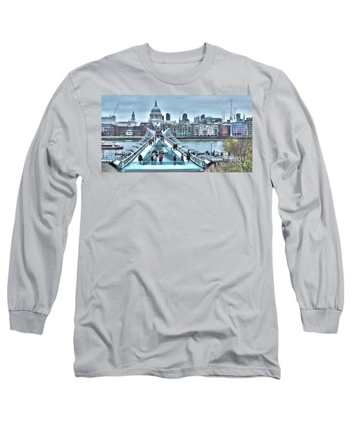 Millennium Bridge And St Paul's Cathedral Long Sleeve T-Shirt