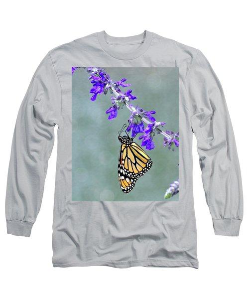 Monarch On Purple Long Sleeve T-Shirt
