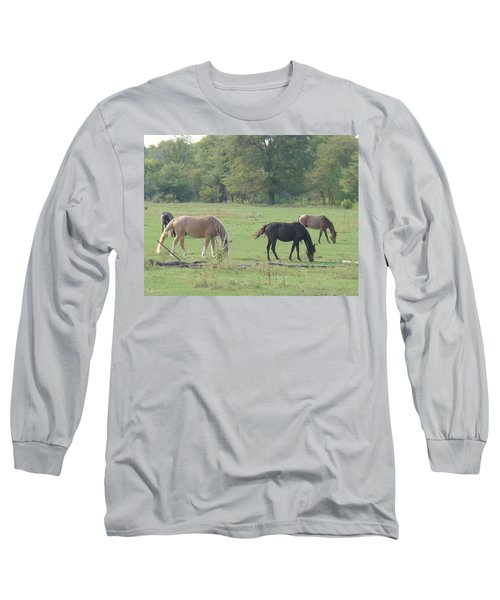 Long Sleeve T-Shirt featuring the photograph Mowing The Lawn by Bonfire Photography