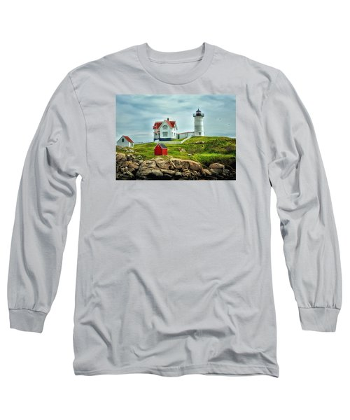 Nubble Lighthouse Long Sleeve T-Shirt by Tricia Marchlik