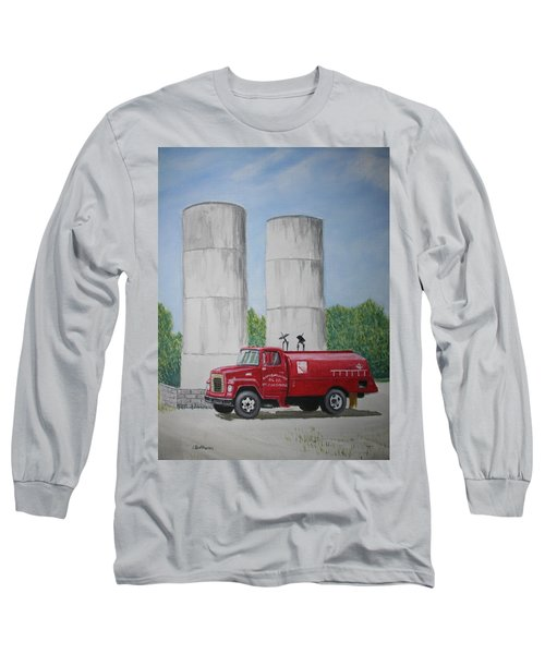 Oil Truck Long Sleeve T-Shirt by Stacy C Bottoms