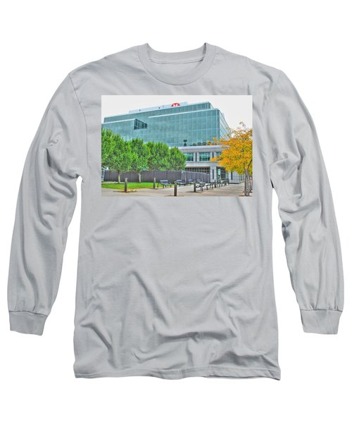 Long Sleeve T-Shirt featuring the pyrography Opposing Trees Of Season by Michael Frank Jr
