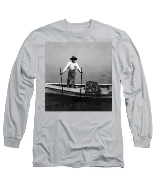 Oyster Fishing On The Chesapeake Bay - Maryland - C 1905 Long Sleeve T-Shirt by International  Images