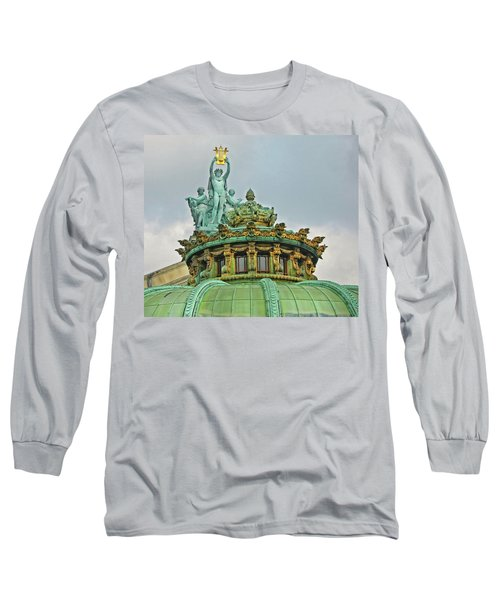 Long Sleeve T-Shirt featuring the photograph Paris Opera House Roof by Dave Mills