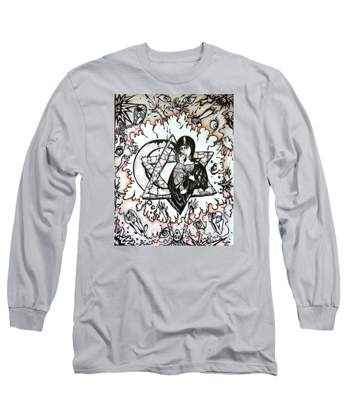 Long Sleeve T-Shirt featuring the drawing Peace Process by Rae Chichilnitsky