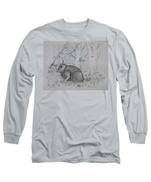 Rabbit In Woodland Long Sleeve T-Shirt by Daniel Reed