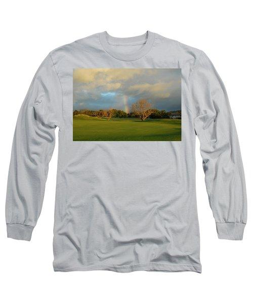 Rainbow Over Princeville Long Sleeve T-Shirt by Lynn Bauer