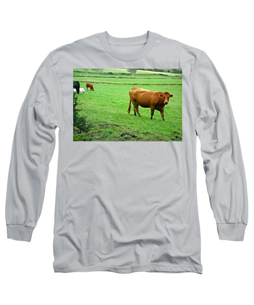 Long Sleeve T-Shirt featuring the photograph Red Cow by Charlie and Norma Brock