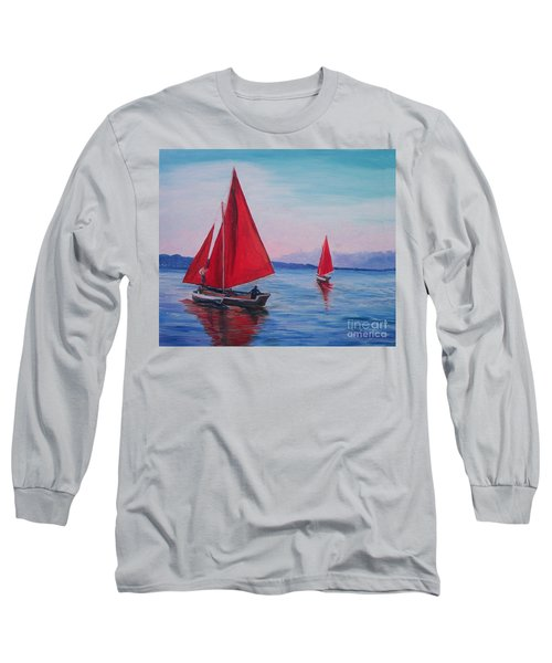 Long Sleeve T-Shirt featuring the painting Red Sails On Irish Coast by Julie Brugh Riffey