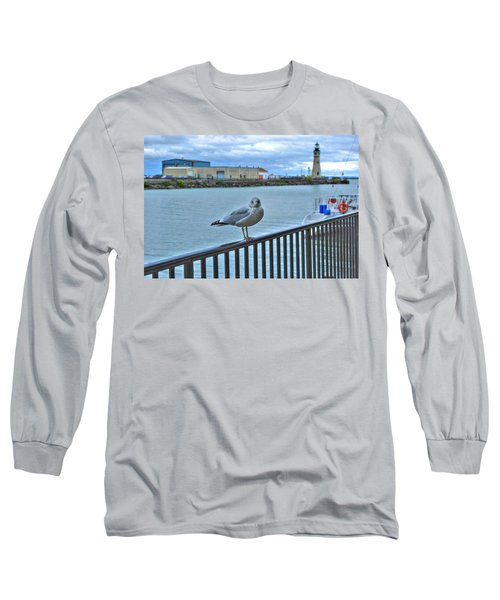 Long Sleeve T-Shirt featuring the photograph Seagull At Lighthouse by Michael Frank Jr