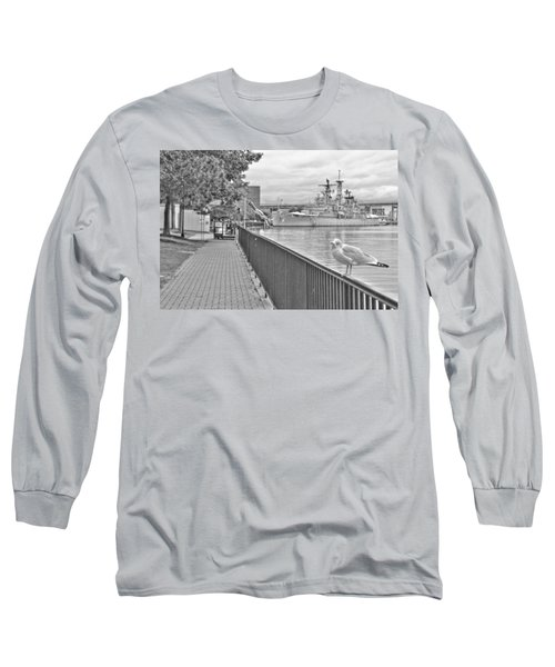 Long Sleeve T-Shirt featuring the photograph Seagull At The Naval And Military Park by Michael Frank Jr