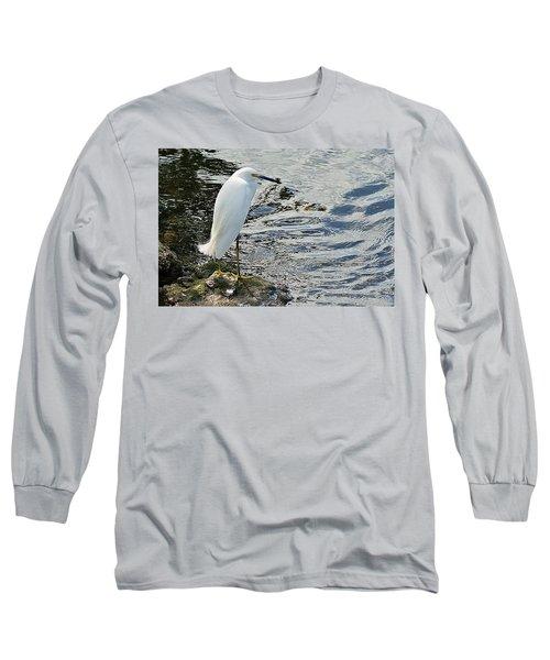 Snowy Egret 2 Long Sleeve T-Shirt by Joe Faherty