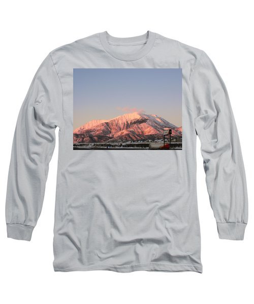 Snowy Mountain At Sunset Long Sleeve T-Shirt